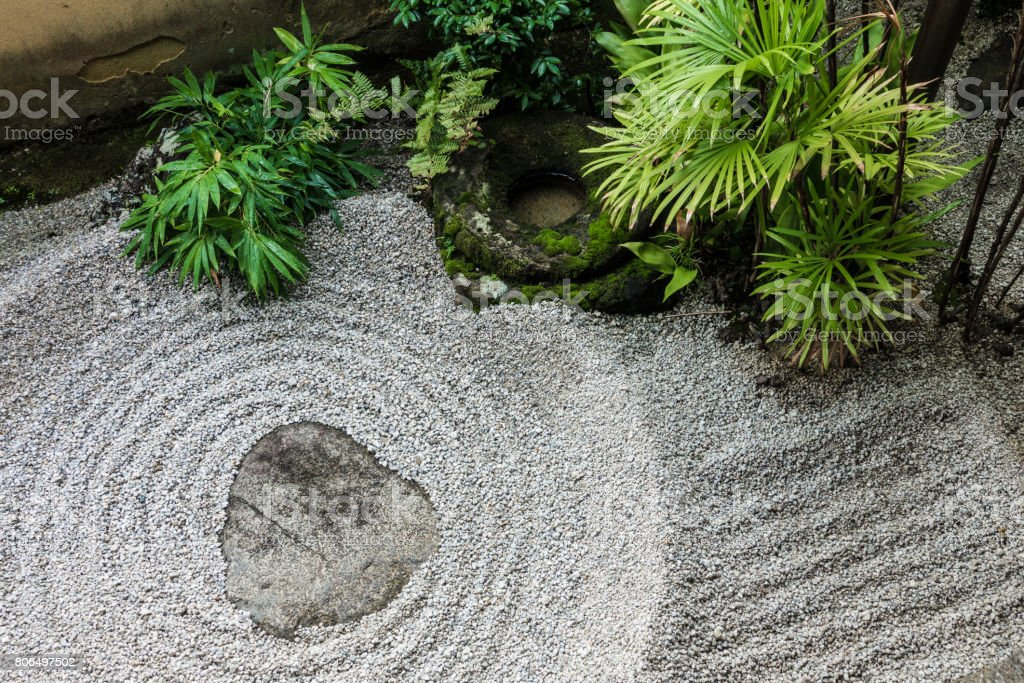 Japanese Zen Rock Garden Top View Royalty Free Stock Photo