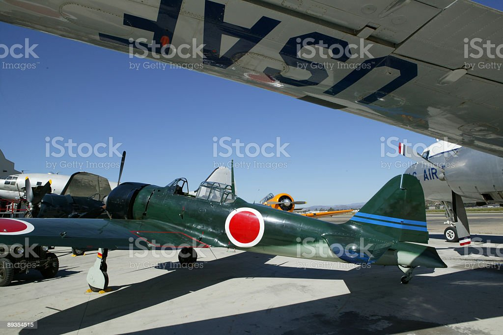Japanese Zero parked on runway royalty-free stock photo