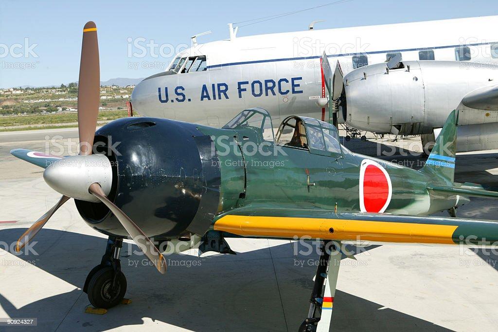 Japanese Zero parked on runway royalty-free stock photo