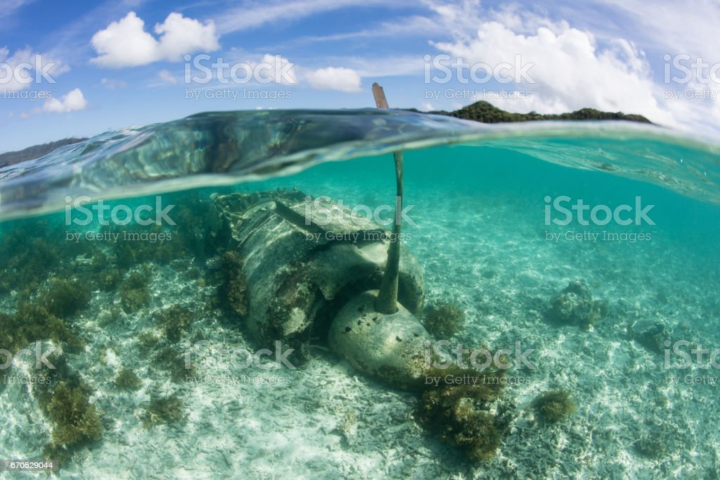 Japanese Zero Plane in Palau stock photo