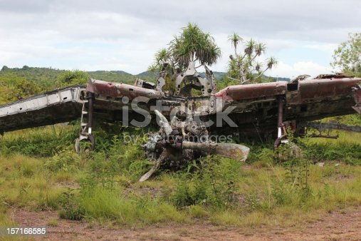 The ruins of a WWII Japanese Zero lays road-side on Yap in Micronesia.