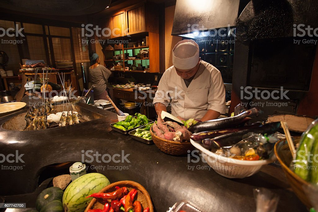 Japense chef at a traditional Japanese restaurant stock photo