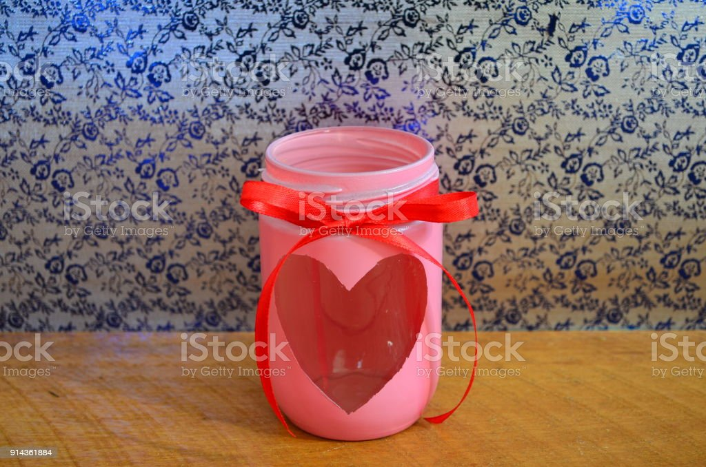 Jar as a decoration for valentine`s day. stock photo