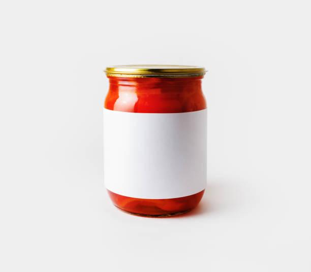 jar, blank label - sauce tomatoes imagens e fotografias de stock