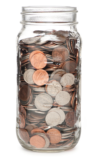 Jar Filled with Coins Money Isolated on White Background