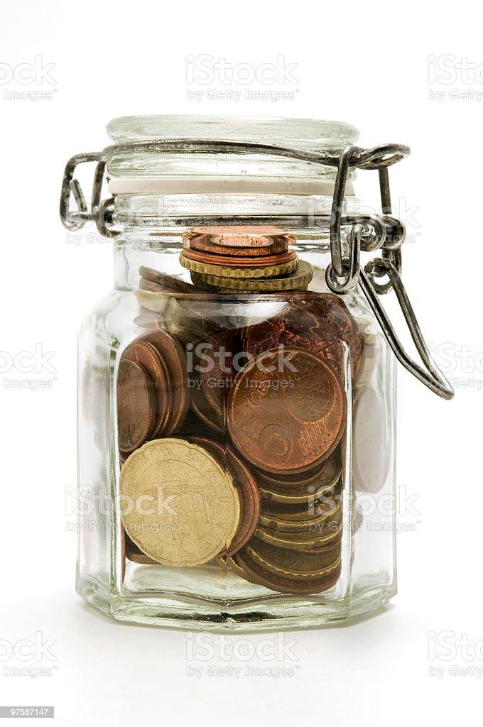 Pot avec pièces de monnaie photo libre de droits