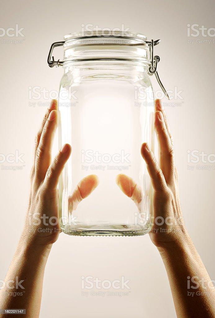 Jar in Hards royalty-free stock photo