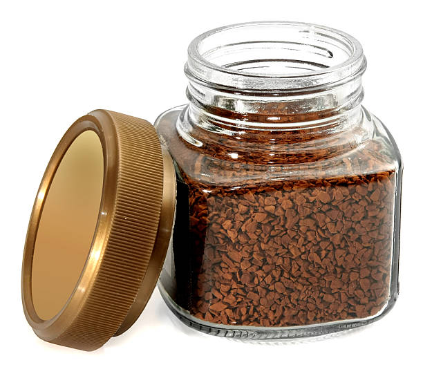 jar instant coffee on white background stock photo