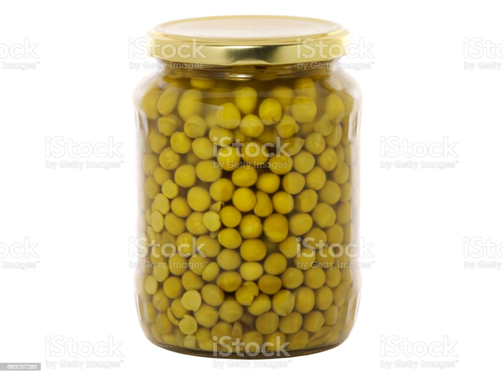 Jar of canned peas 免版稅 stock photo