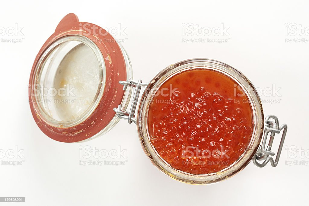 Jar of caviar royalty-free stock photo