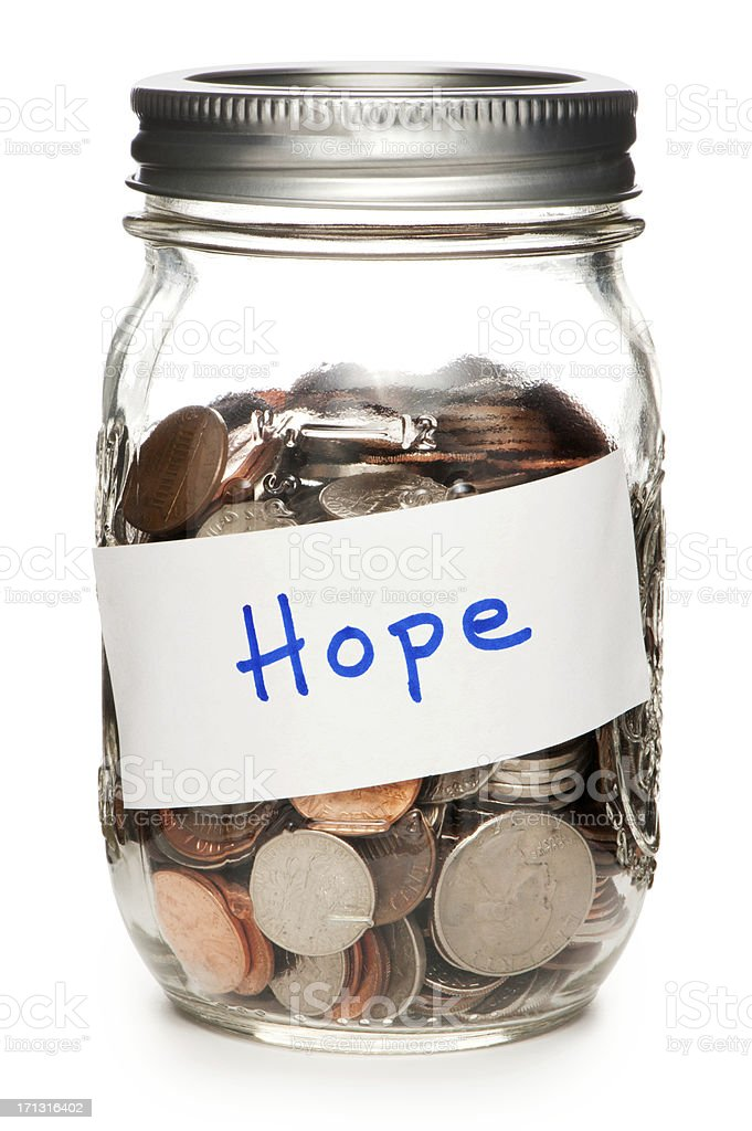 Jar of Coins Labeled Hope Isolated on White Background royalty-free stock photo
