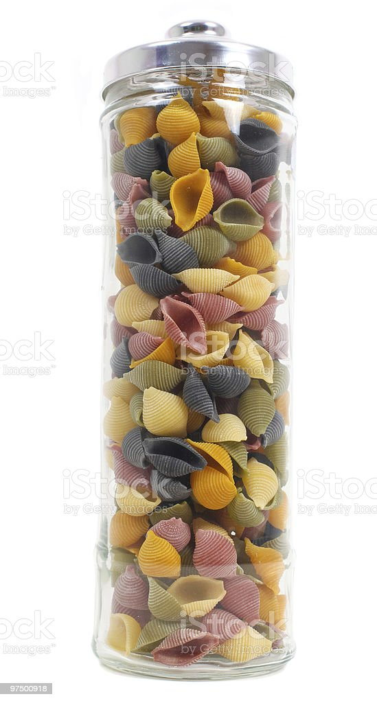Jar of colourful pasta royalty-free stock photo