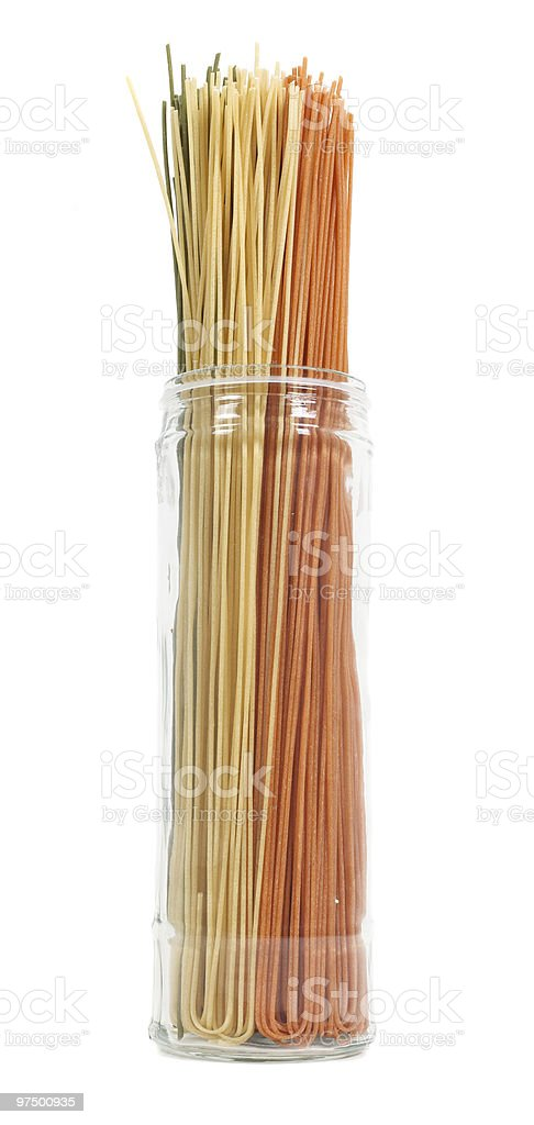 Jar of colourful pasta royalty-free stock photo