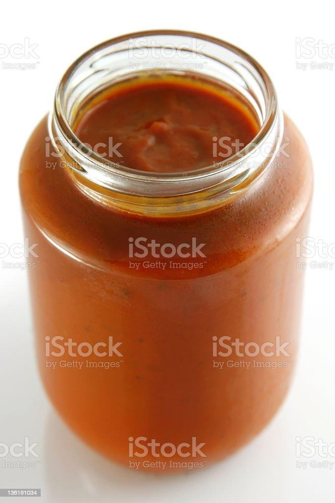 Jar of home made classic Tomato sauce stock photo