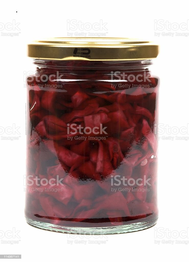 Jar Of Home Made Pickled Red Cabbage royalty-free stock photo