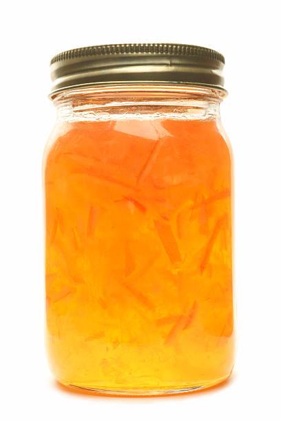 Jar of homemade marmalade. stock photo