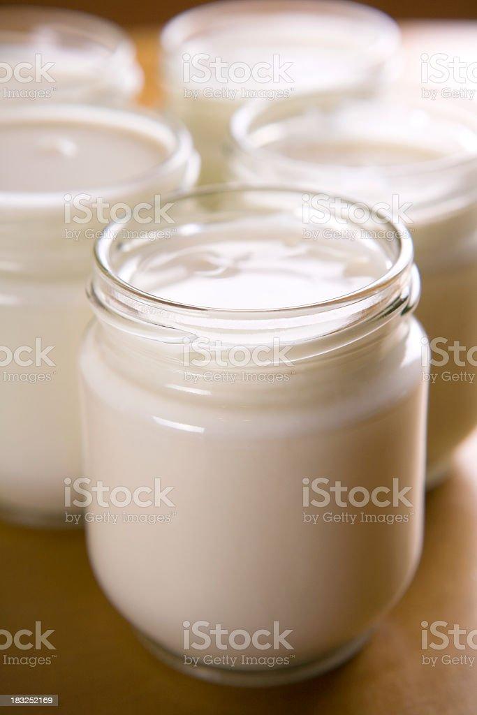 Jar of homemade plain yogurt with lid off stock photo