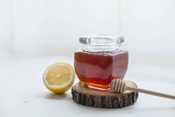 Jar of honey stock photo