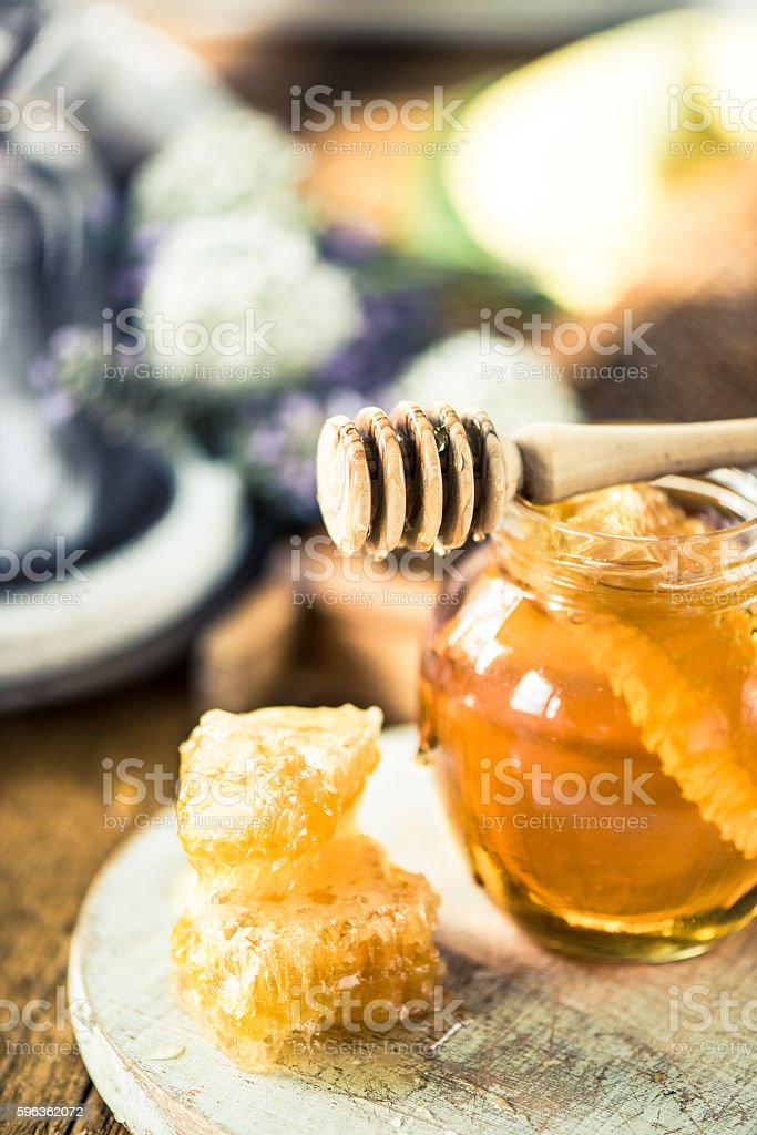 Jar of honey royalty-free stock photo