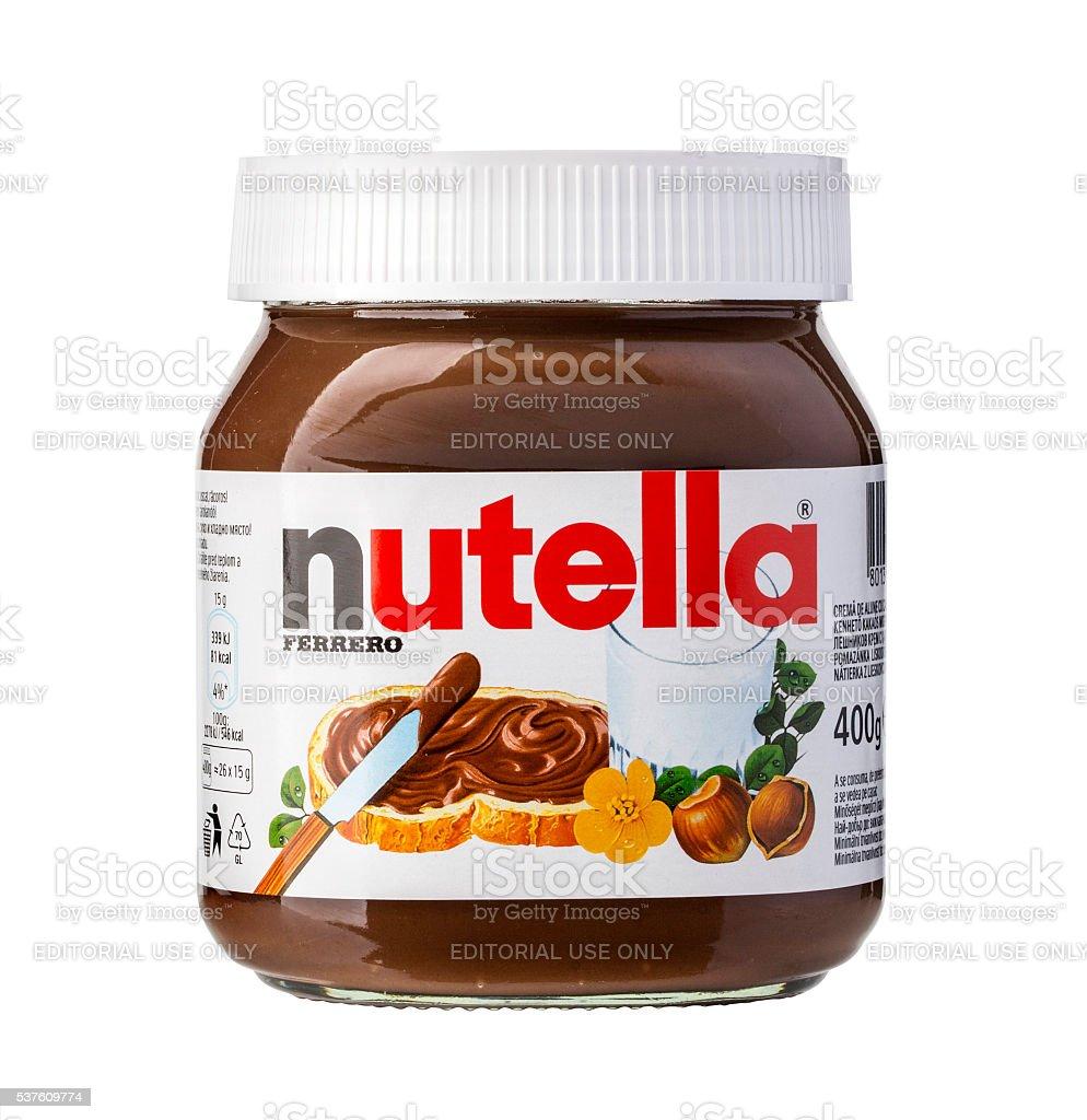 Jar of Italian Nutella hazelnuts cream stock photo