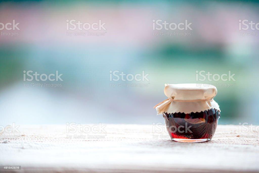 Jar of Jam, Copy Space stock photo
