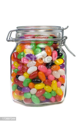 Mason jar filled with colorful jelly beans