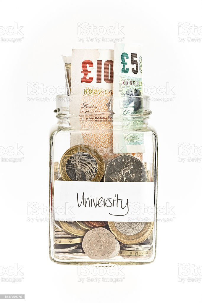 Jar of money used to save funds for university stock photo