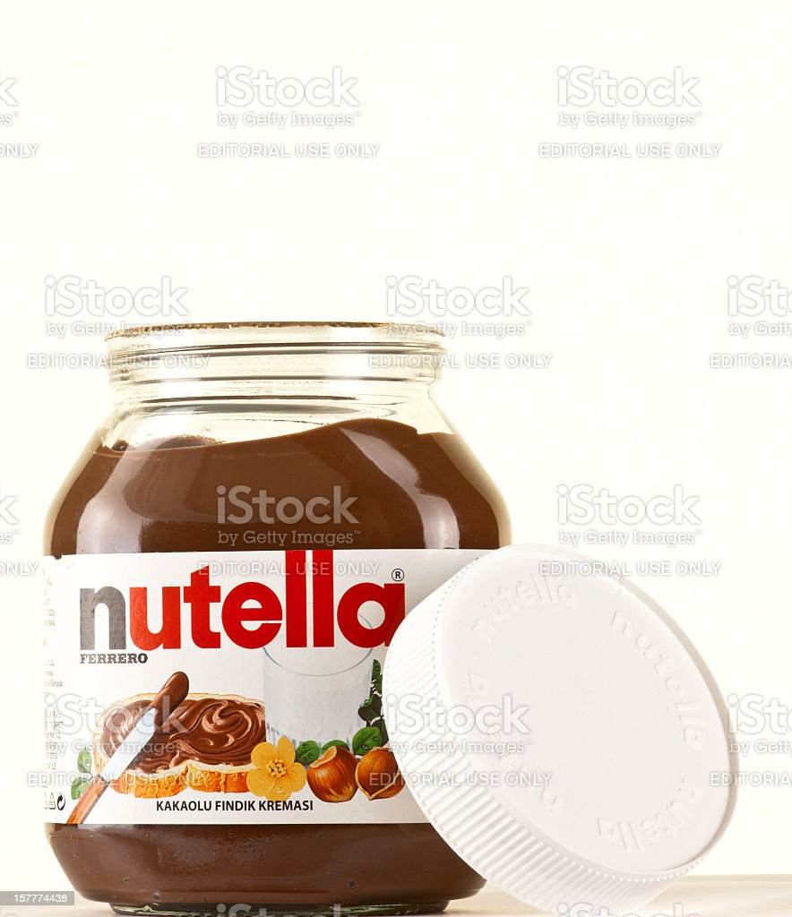 Jar of nutella stock photo
