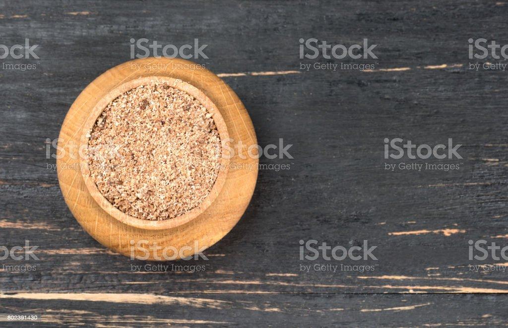Jar of nutmeg stock photo