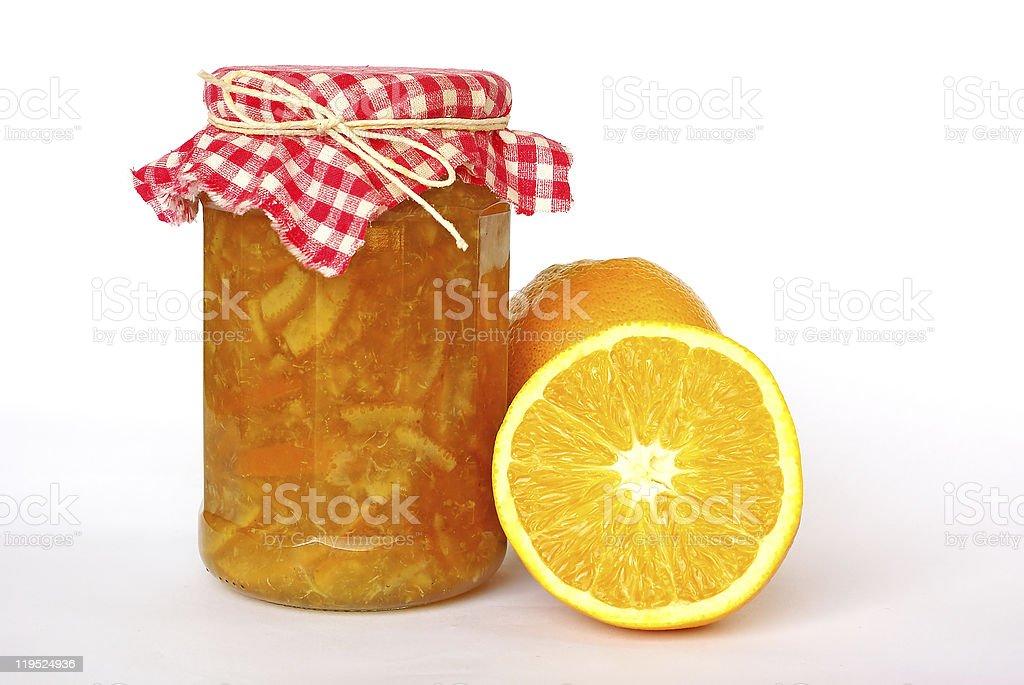 Jar of orange marmalade stock photo