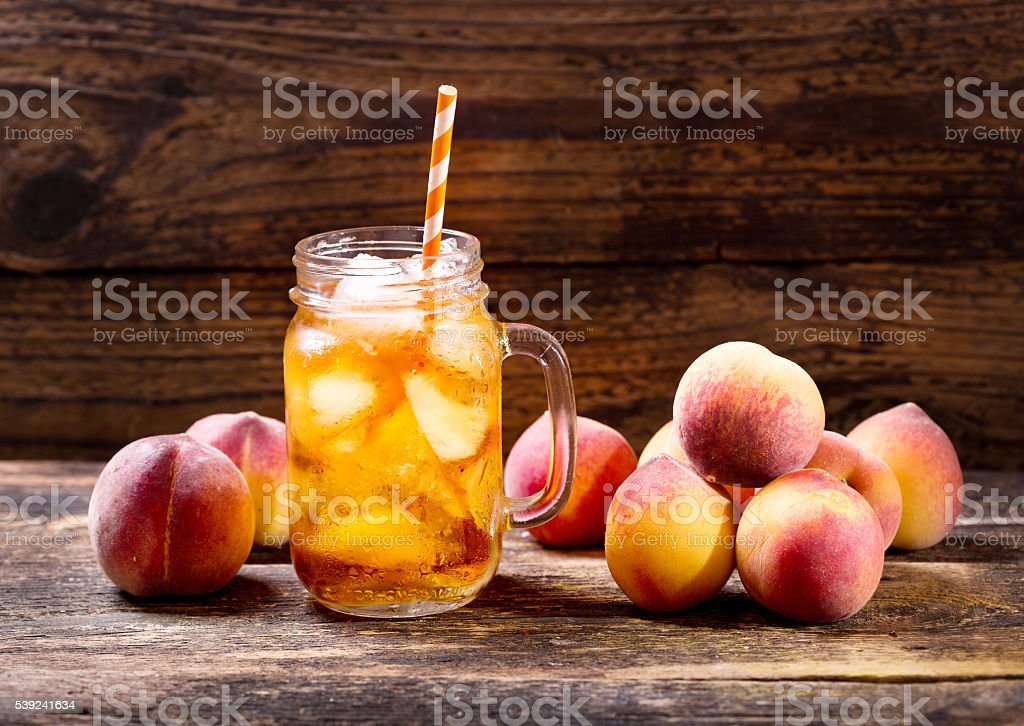 jar of peach iced tea royalty-free stock photo
