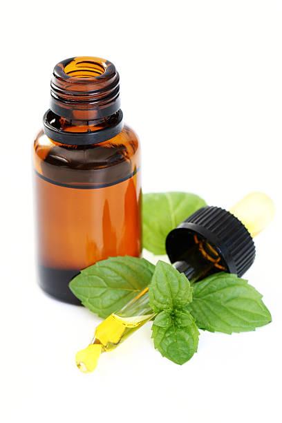 jar of peppermint oil with peppermint leaves - i̇ngiliz nanesi stok fotoğraflar ve resimler