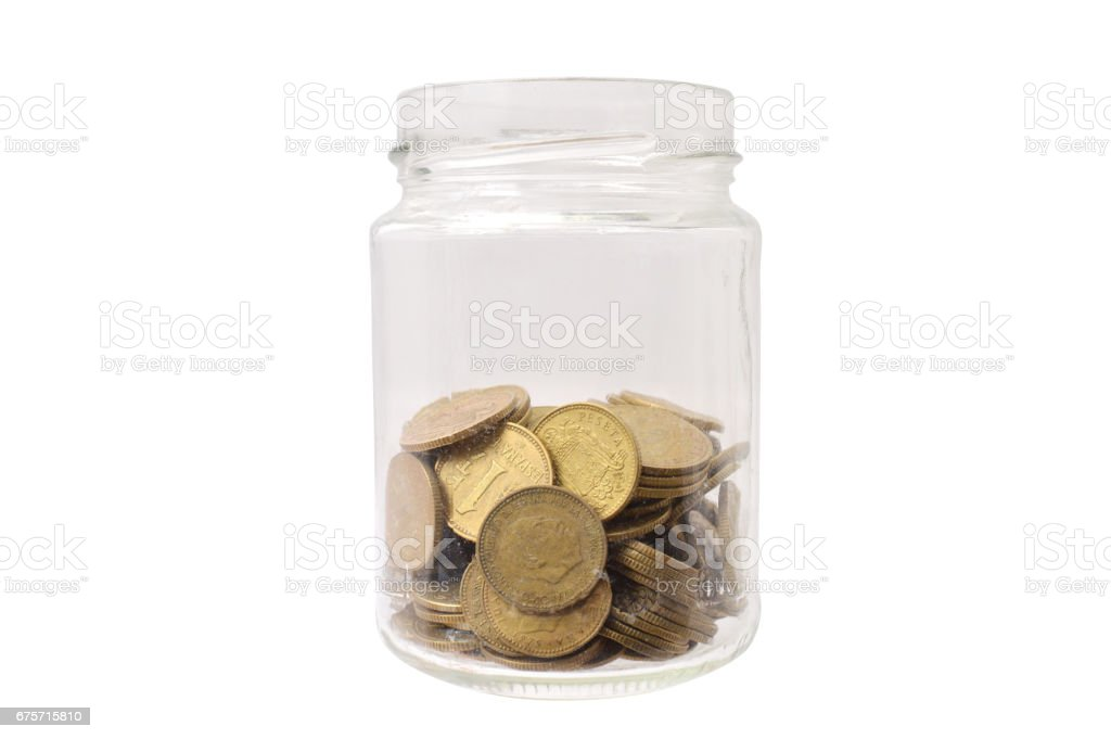 Jar of Pesetas Spain Coins 免版稅 stock photo