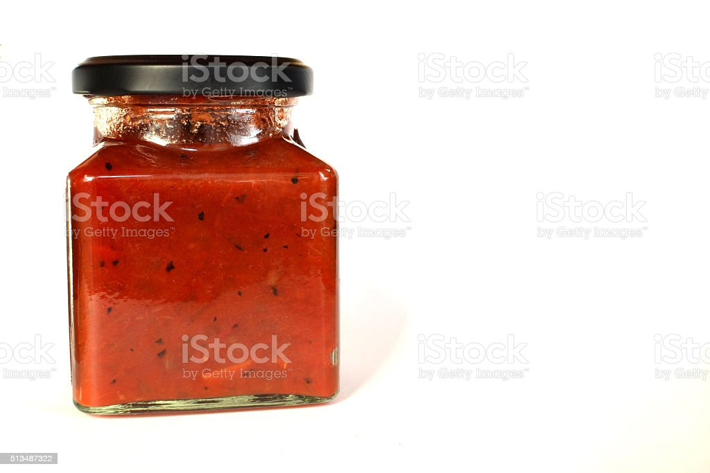 Jar of pickle sauce stock photo