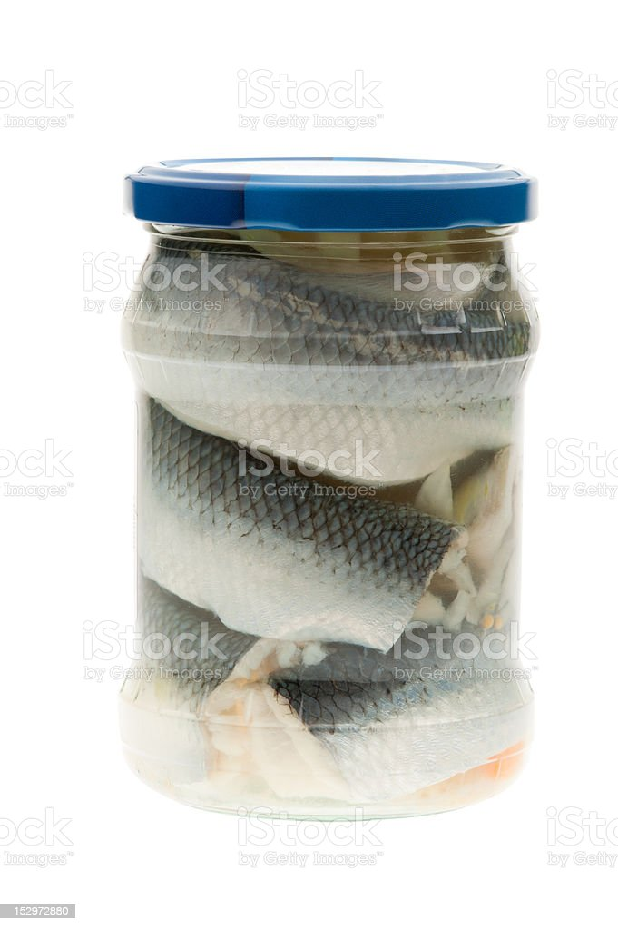 Jar of Pickled herring, isolated royalty-free stock photo