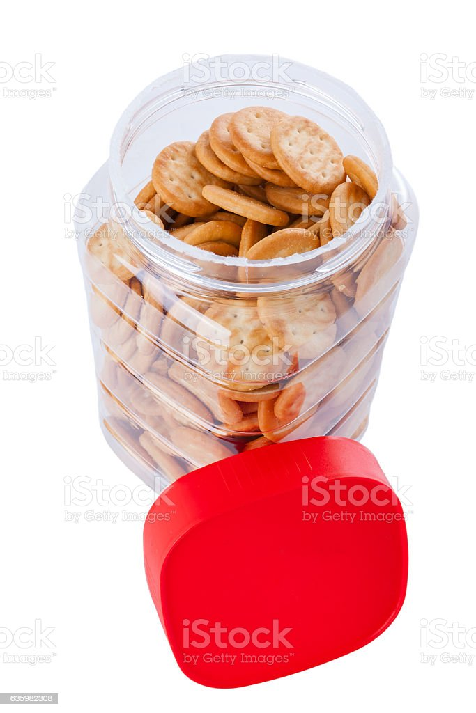 Jar of small appetizer crackers stock photo