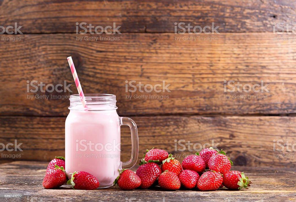 jar of strawberry smoothie royalty-free stock photo