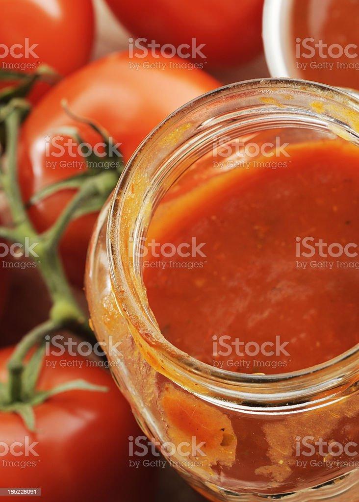 Jar of tomato sauce stock photo