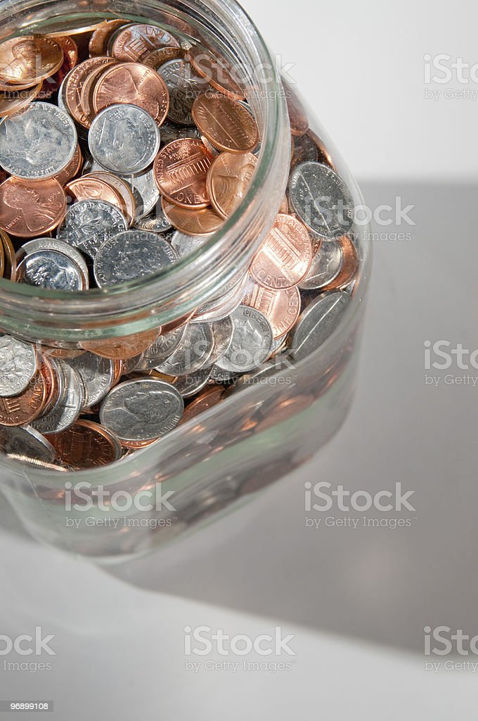 Jar of US  coins royalty-free stock photo