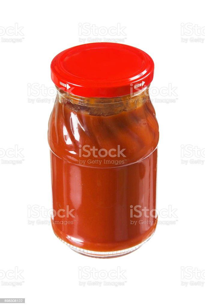 jar tomato paste stock photo