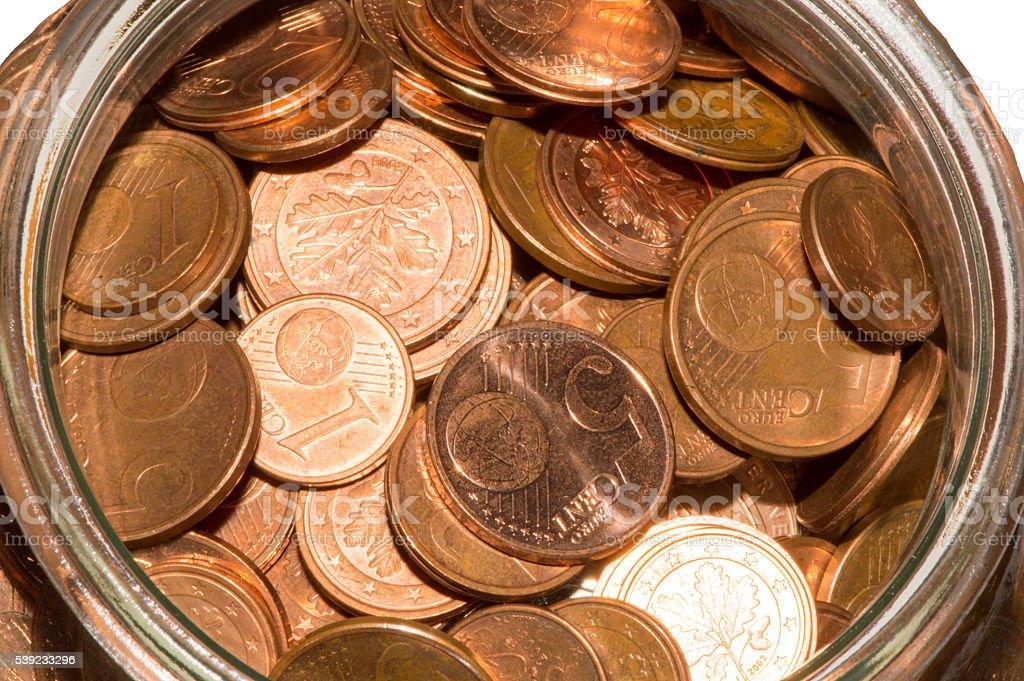 Jarra com moedas foto royalty-free