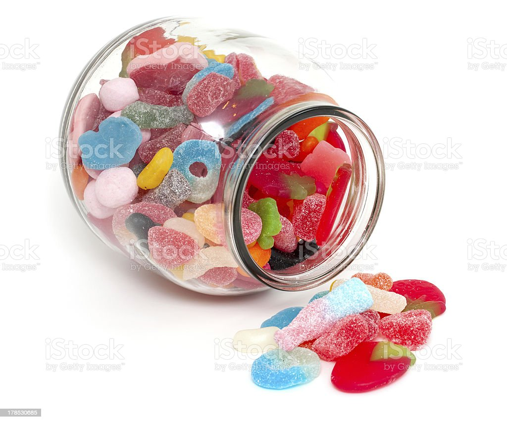 jar with colorful candies royalty-free stock photo