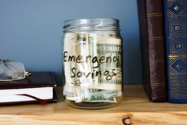 Jar with emergency savings cash fund on the shelf picture id951051262?b=1&k=6&m=951051262&s=612x612&w=0&h=dbr1d0f1k37reg7tdsrgtyxtwyjqjdd3hfmz1vqrz4s=