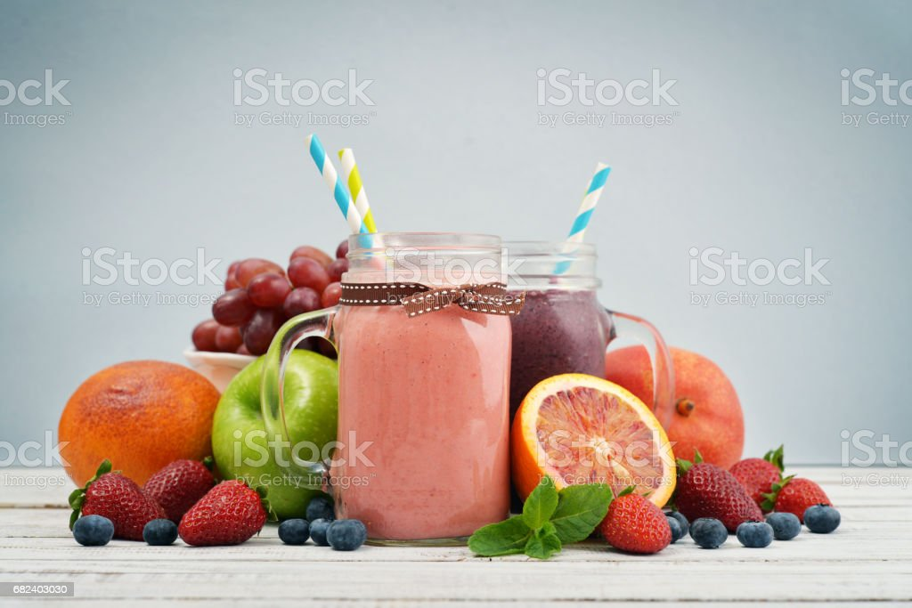 Jar with handle of smoothies royalty-free stock photo