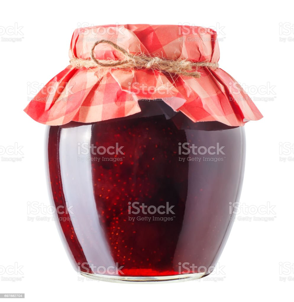 jar with strawberry jam isolated stock photo
