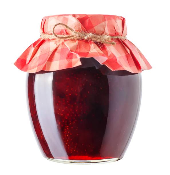 jar with strawberry jam isolated - jam jar imagens e fotografias de stock