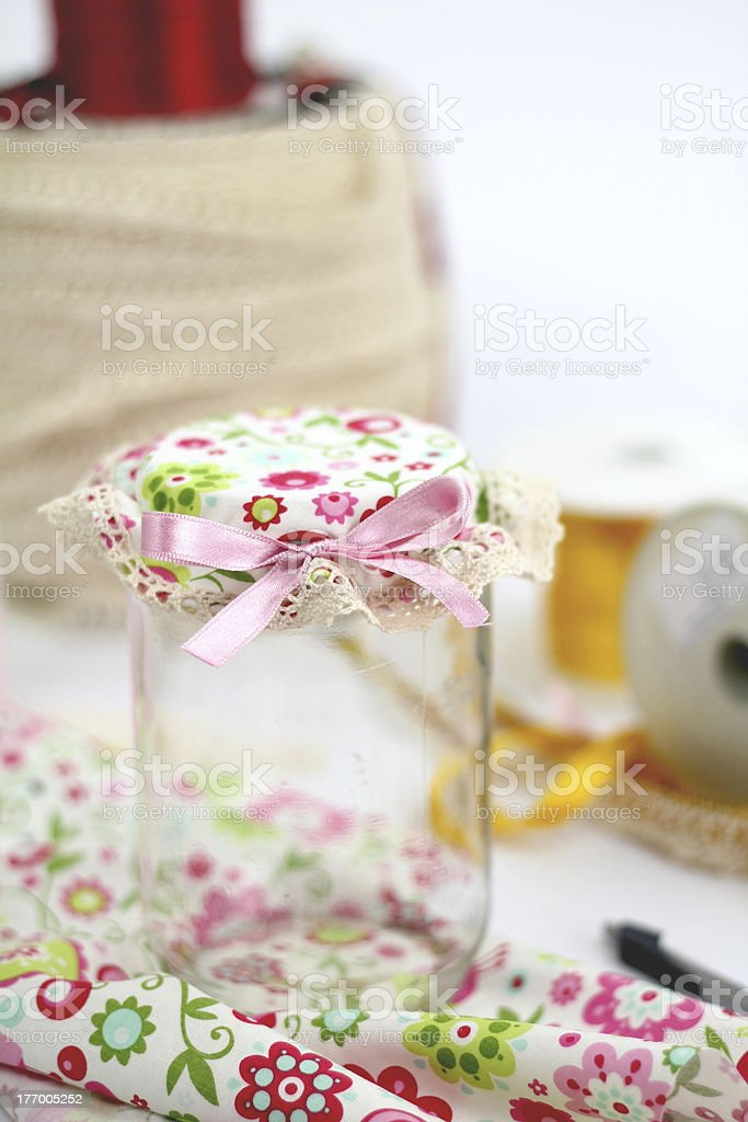 Jar with textile cover stock photo