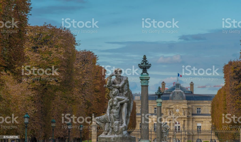 Jardin des grands explorateurs on a fine autumn day in Paris stock photo