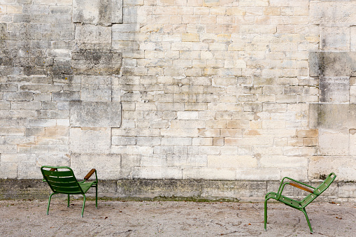 Jardin des Tuileries Garden Wall and Chairs, Paris France