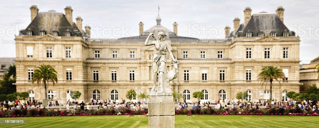 Jardin du Luxembourg Statue of Diana panorama stock photo
